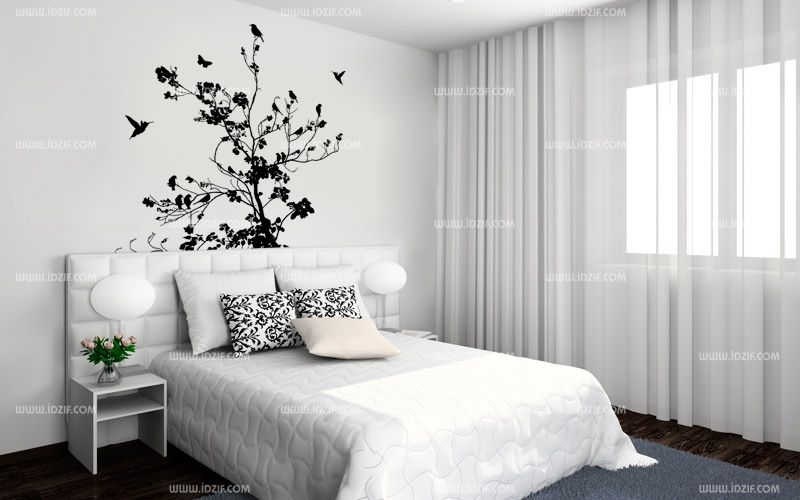 stickers t te de lit arbre. Black Bedroom Furniture Sets. Home Design Ideas