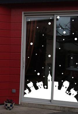 Stickers Noël, le paysage enneigé.