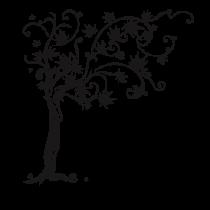 Le stickers esquisse arbre en noir pour décorer l\'intérieur sur le thème de la nature