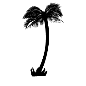 Le stickers palmier touffu en noir pour décorer l\'intérieur sur le thème de la nature