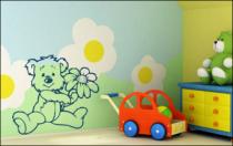 Le stickers ourson et fleur pour décorer une chambre d\'enfant