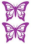 Stickers Papillons. Planche de 2 stickers papillons découpés à la forme dans vinyle de couleur unie.