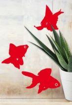Stickers poissons rouges découpés à la forme dans vinyle de couleur unie.