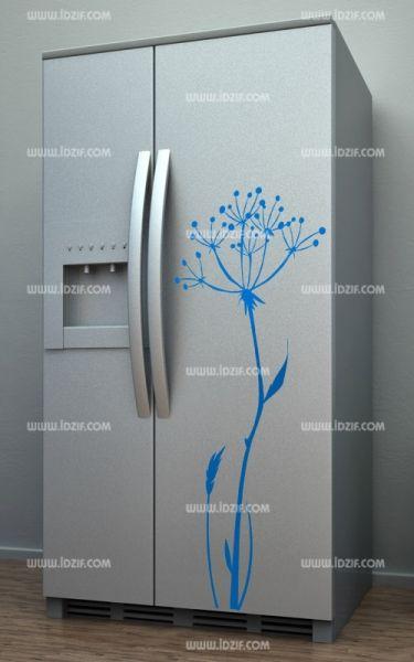 Stickers porte frigo fleur