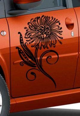 Stickers portière motif fleur