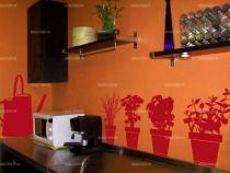 Stickers herbes aromatis�es d�coup�s � la forme dans vinyle de couleur unie. Comprend 4 stickers pots d\'herbes aromatis�es et un sticker arrosoir.
