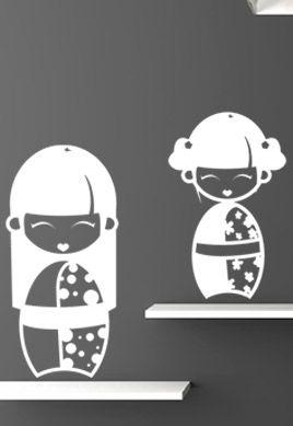Stickers poupées japonaises