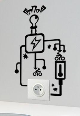 Stickers prise circuit électrique