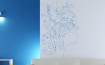 Le stickers profil visage fleur pour décorer l\'intérieur