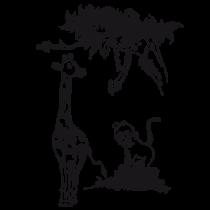 Le stickers safari girafe singe serpent pour décorer une chambre d\'enfant