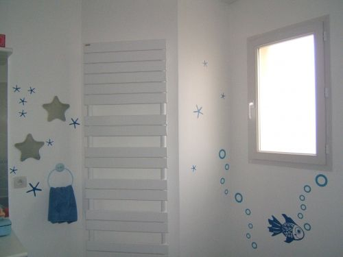 stickers salle de bain poisson ayams. Black Bedroom Furniture Sets. Home Design Ideas