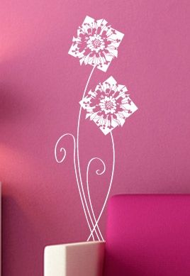 stickers muraux salon fleurs