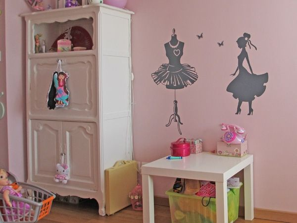 Stickers femme silhouette for Grande chambre fille