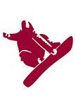 stickers snowboard découpé à la forme dans vinyle de couleur unie.