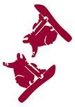 2 stickers snowboarder découpés à la forme dans vinyle de couleur unie.