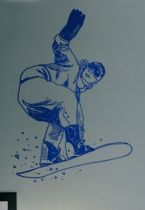 Stickers snowboarder saut