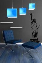 Sticker mural : Statue de la liberté sur son podium découpée à la forme dans vinyle adhésif uni, welcome to the United States of America!!