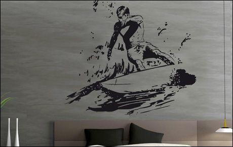 Le stickers surfeur debout pour décorer sur le thème du sport