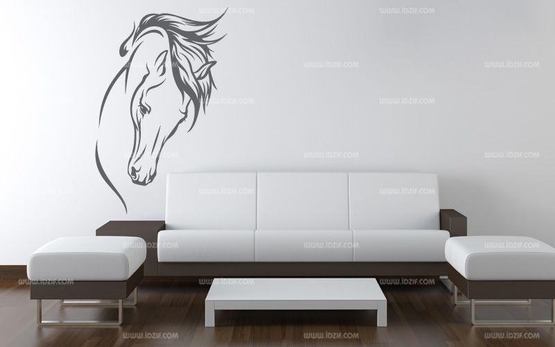 Stickers t te de cheval au trait - Image tete de cheval ...