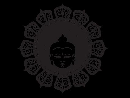 Le stickers tête de Bouddha en noir pour une décoration exotique