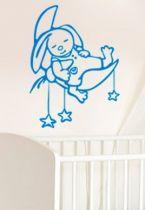 Stickers tête de lit bébé lapin