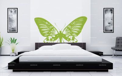 stickers t te de lit papillon. Black Bedroom Furniture Sets. Home Design Ideas