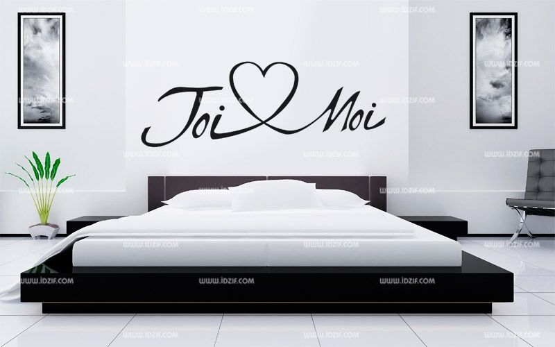 stickers t te de lit toi et moi. Black Bedroom Furniture Sets. Home Design Ideas