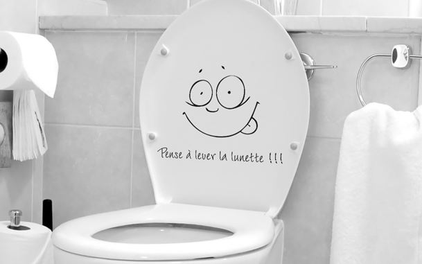 Stickers toilette lunette for Porte wc dessin