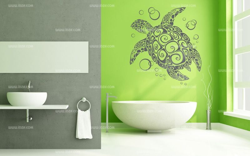 Stickers tortue de mer for Deco salle de bain stickers