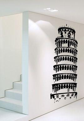 Stickers tour de pise pour créer une déco d\'intérieur sur l\'italie