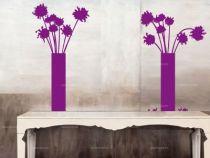Stickers vases de fleurs découpés à la forme dans vinyle de couleur unie.