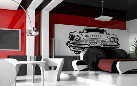 Stickers voiture am ricaine for Decoration interieur americain