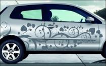 Stickers pour voiture avec des motifs floraux et des petits c�urs