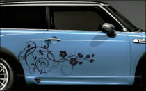Stickers pour voiture avec des motifs floraux en frise