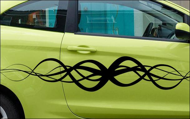 Stickers pour voiture avec une frise de lignes et courbes