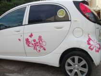 stickers voiture fleurs rose