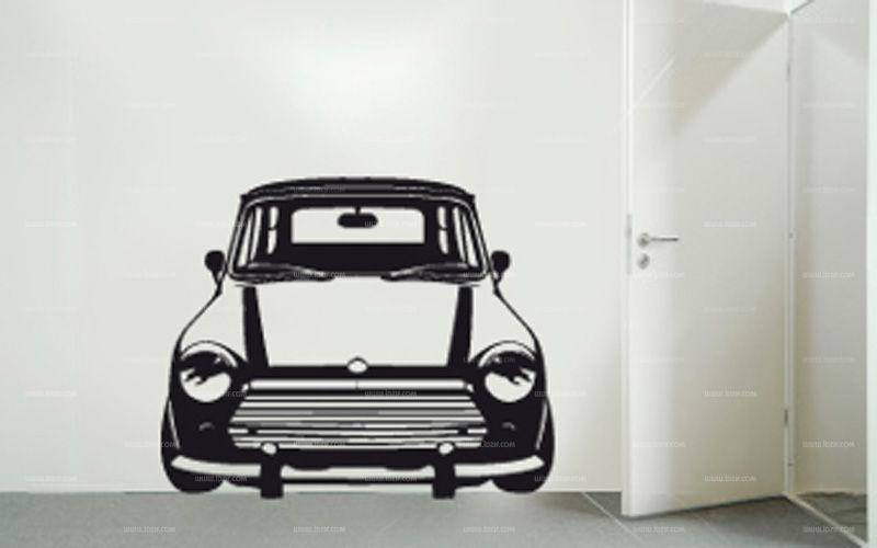 Stickers voiture mini. Un peu rétro et très symbolique des années 50 la voici la petite mini Austin pour votre décoration