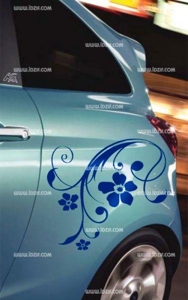 Stickers voiture motifs fleuris