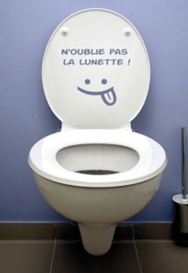 Toilettes propres humour latest toilettes with toilettes for Autocollant porte wc
