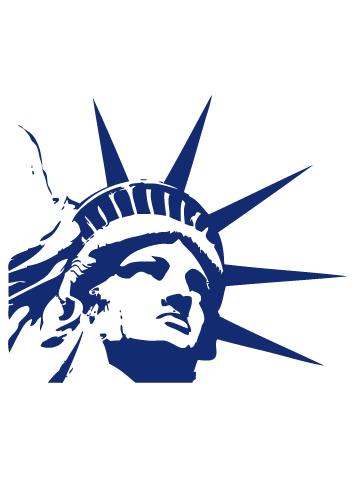 Stickers Statue de la Liberté découpée à la forme dans vinyle adhésif uni, welcome to the United States of America!!